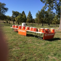 The Gatorade station at the park is set up for race day